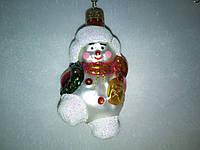 Снеговик-елочная игрушка стекляная