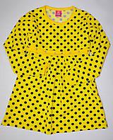 Желтое трикотажное платье в горошек 104,110