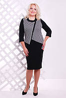 Платье Шамбрез черный+белый 50-60 размеры