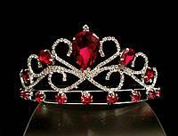 Диадема корона красные кристаллы на металлическом обруче, высота 5,5 см, серебристая