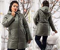 Зимняя куртка-пальто на синтепоне большого размера батал