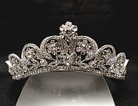 Диадема корона сияющие камни на металлическом обруче, высота 5 см