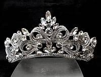 Диадема корона сияющие кристаллы на металлическом обруче, высота 6 см