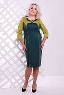 50,52,54,56,58 размеры Платье Стефания зеленое большого размера приталенное женское на работу деловое