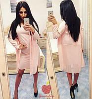 Кардиган+платье Ткань креп костюм Модуль+шифон Ткань Турция Цвета шалфей, пудра, черный яс№ 49201
