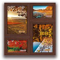 Мультирамка-коллаж Семья на 4 фотографии коричневая  премиум
