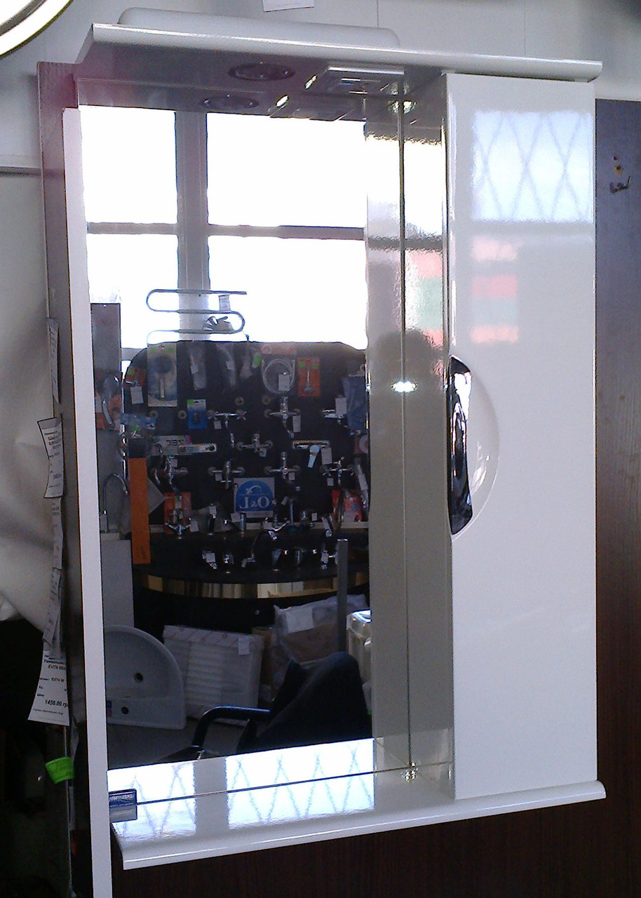 Зеркало З-01ВР-55 белое (550*165*705) правое с подсветкой, ТМ Николь