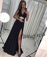 Красивое платье с украшением на поясе в расцветках