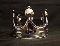 Корона короля серебристая, высота 12 см