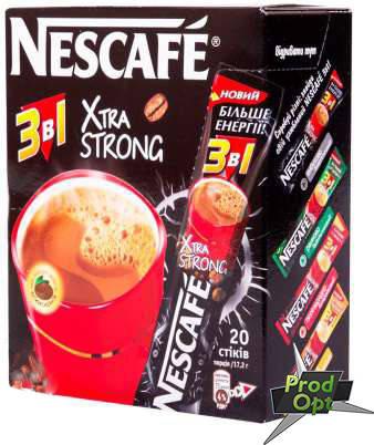 Кава розчинна Нескафе 3в1 Екстра Стронг 20 стіків, фото 2