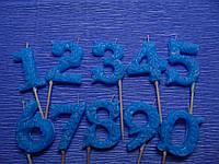 Свеча-цифра ажурная синяя (ручная работа)