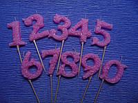 Свеча-цифра ажурная розовая (ручная работа)