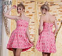 Платье - корсет hi-low с принтом с413.2 (ГЛ)