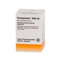 Конвулекс таблетки, 500 мг, 50 шт.