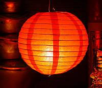 Фонарь бумажный шар красный (d = 22 см)