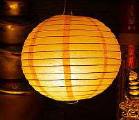 Фонарь бумажный шар оранжевый
