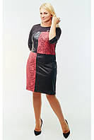 Модное женское платье из экокожи и гипюра