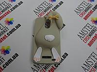Объемный 3D силиконовый чехол для Meizu Mx3 Серый заяц