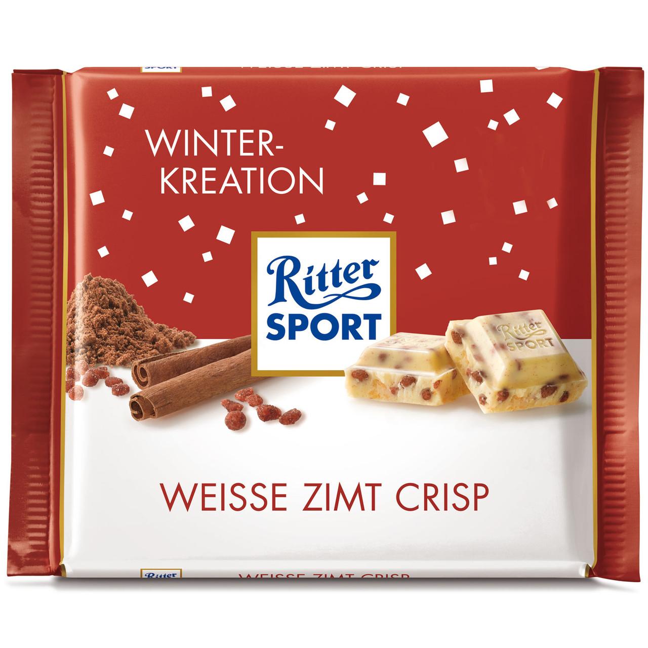 Шоколад Ritter Sport Weisse Zimt Crisp (Риттер Спорт миндаль в карамели), 100 г