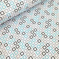Лоскуток. Хлопковая ткань с голубыми и графитовыми контурами квадратиков 45*160  н
