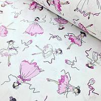 Хлопковая ткань с балеринами на белом фоне