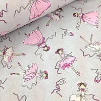 Хлопковая ткань с балеринами на сером фоне