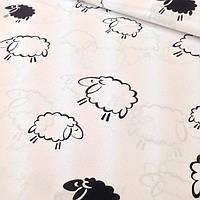 Бязь с черными овцы на белом фоне