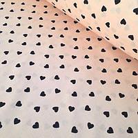 Хлопок цвета пудры с черными сердцами (№165)