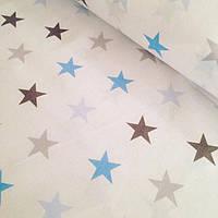 Ткань с серо-голубыми остроконечными звёздами 4 см