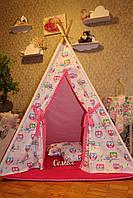 """Детский игровой домик, вигвам, палатка, шатер, шалаш """"Амарантовые совы"""", фото 1"""