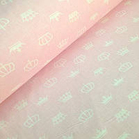 Бязь с белыми коронами на розовом  фоне