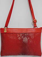 Клатч удобный красный с длинным ремешком, фото 1