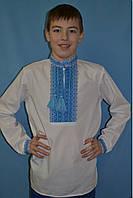 Белая сорочка с голубой вышивкой