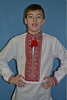 Белая льняная вышиванка для мальчика