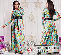 Платье с красивыми принтами и с поясом