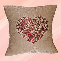 Наволочка декоративная с вышивкой Украина Н067 Сердце Какао 40х40 см наволочка