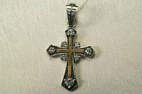 Крестик на цепочку из серебра с золотом и фианитами