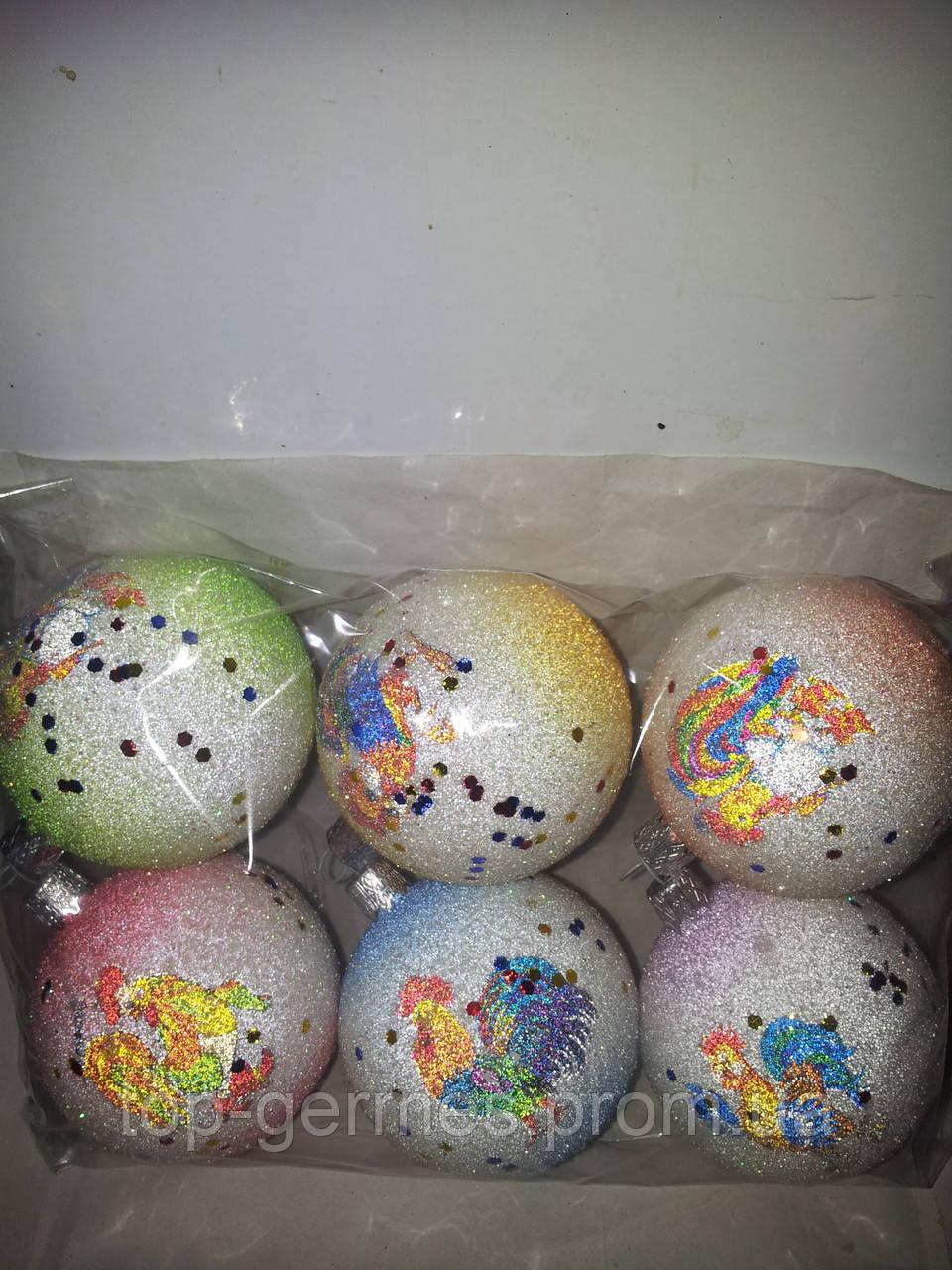 """Новогодние шары """"петухи"""" символ года 6шт"""
