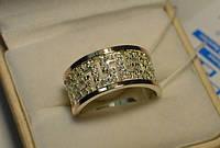 Кольцо из серебра 925 пробы с золотыми вставками 375 пробы