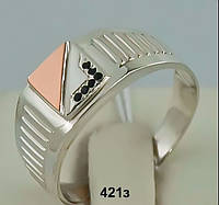 Перстень мужской серебряный (печатка) с золотом