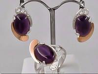 Серебряный гарнитур 058з с золотом и камнем улексит фиолетовый