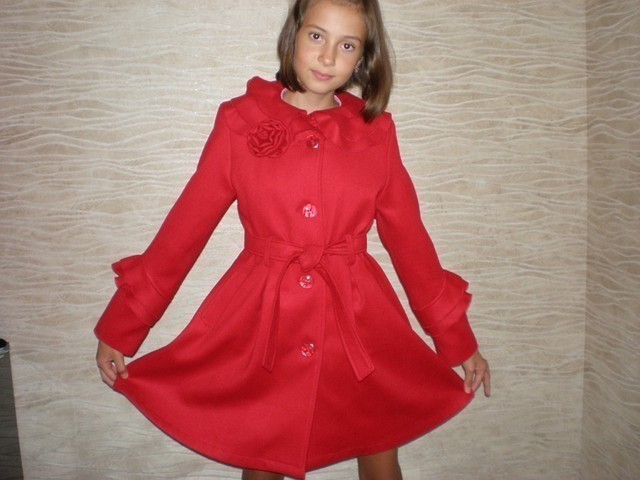 """Пальто кашемировое  """"Роза"""" (красное)."""