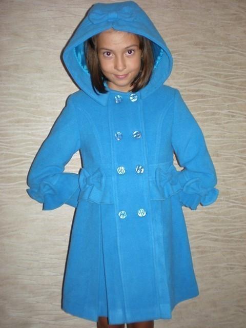 """Пальто кашемировое  """"Бантик"""" (голубое)."""