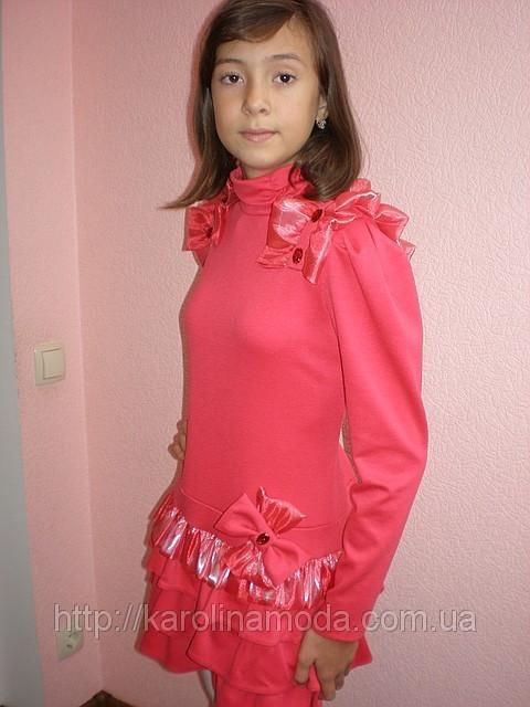 """Детская одежда для девочек. Платье """"Цветочек""""коралл."""