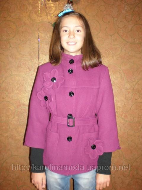 """Детская одежда оптом.   Полупальто кашемировое  """"Цветочек"""" сирень,розовое,др. варианты"""