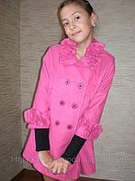 """Пальто кашемировое  """"Ажур"""" (розовое)."""