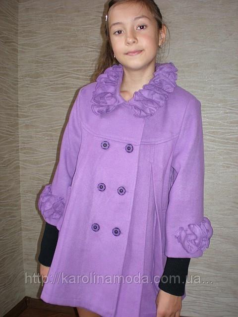 """Детская одежда оптом.   Пальто кашемировое  """"Ажур"""" (сирень)."""