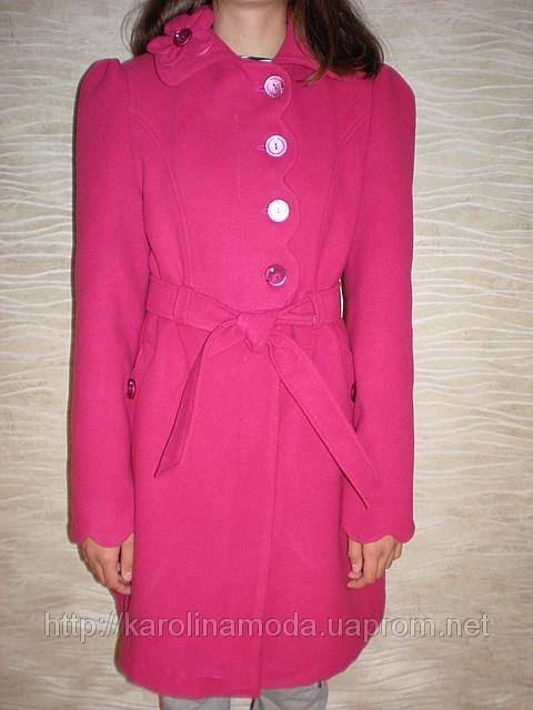 """Детская одежда оптом.   Пальто кашемировое  """"Волна"""" (малиновый)."""