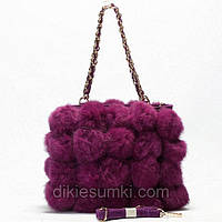 Женская сумка фиолетовая с мехом кролика