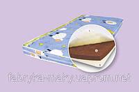Детский ортопедический матрас Кузя 120*60 см 5 слоев кокосовой койры поликотон